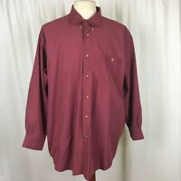 Orvis Men's 2XL XXL Button Front Shirt Checked Red Long Sleeve
