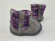 NEW! Surprize by Stride Rite Toddler Girl's Adora Zip Up Boots Gry/Purp 143A tz