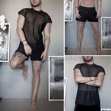 2PCS Mens See Through Sexy Mesh Pajamas Set Nightwear Sleepwear Loungwear Suits
