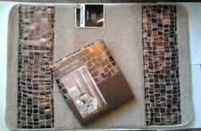 Popular Bath Mosaic Stone Bronze Fabric Shower Curtain & Bath Mat