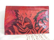 Leather Clutch Multi-Color Tooling Glazed Zebra Pattern 13x8.5x2.5