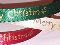 """10mm RED - CREAM or GREEN """"MERRY CHRISTMAS"""" RIBBON TRIMMING -  2 or 4 Metres"""
