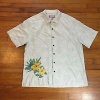 Caribbean Joe Men Sz XL Hawaiian Shirt Button Up Flowers Floral Let Go EUC