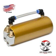 Billet Aluminum Racing Engine Oil Catch Reservoir Tank/Can+Hose Indicator Gold