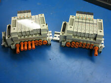 2 SMC Valve Bank with 6 Pneumatic Valves VQ1101NY-5(4),VVQ1000-10A-1(2). #E17
