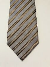 ISAIA NAPOLI 7Fold Men's Necktie Silver  Stripe 100% Silk Tie 3.5 x 60 MSRP $230