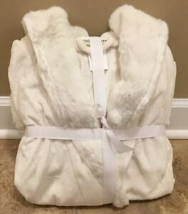 NEW Pottery Barn LARGE Tonal Colored Faux Fur Robe IVORY