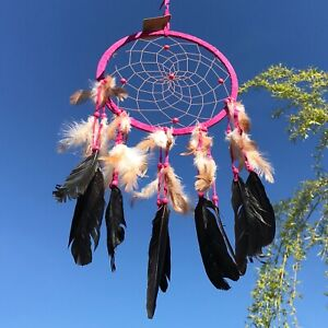 New Large Pink Dream Catcher Native American Feather Hanging Mobile ~ Hippy