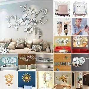 3D Acrylic Mirror Wall Sticker Effect Tile Stick On Art Decals Living Room Decor