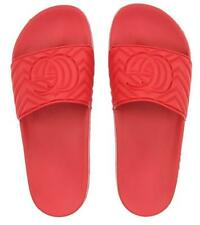 NEW GUCCI MEN'S  DEEP CORAL LOGO SLIDES FLIP FLOPS SHOES 7/US 7.5