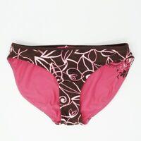Athleta Womens Reversible Bikini Bottoms L  Brown Pink Floral Printed Hipster