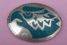 Vintage Sterling Silver Turquoise Inlay Big Eagle Head Belt Buckle Plata Jalisco