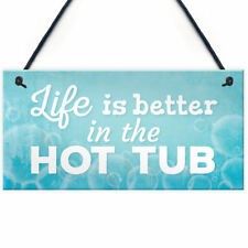 Novelty Hot Tub Sign Garden Decor Hanging Wall Shed Outdoor Plaque Jacuzzi Pool