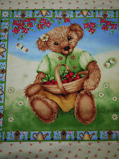Patchworkstoff Makower, sommerlicher Teddy, Bär, Erdbeeren, 2 Kissenpanel, Panel