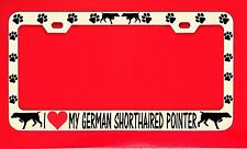 I Love My German Shorthaired Pointer License Plate Frame Tag Dog Paw Vinyl Lette