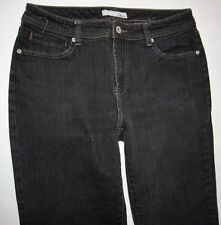 Chicos Platinum Denim Size 1.5 Straight Leg BLACK Wash Jeans Pants Size 10 4083