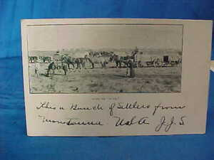 Early 20thc SETTLERS From MONTANA w WAGON TRAIN Real Photo POSTCARD