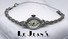 Womans Waltham Vintage 14 Karat White Gold and Diamonds Watch