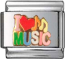 MUSIC I LOVE MUSIC Enamel Italian 9mm Charm MD054 Fits Nomination Classic