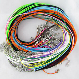 50PCS 18 inch Bulk Waxed Cotton Lot String Pendent Necklace Cords Rope Straps