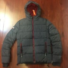 NEW SUPERDRY PREMIUM JACKET SPORTS PUFFER HOODED INDIGO RED MEN SIZE SMALL S