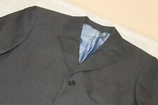 NEW WITHOUT TAGS BANANA REPUBLIC Gray Blue Striped Suit 42 R Cotton Blend
