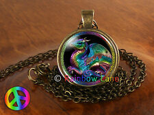 Colorful Rainbow Dragon Fantasy Necklace Jewelry Pendant Womens Girls Gift Gifts