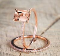 18K Rose Gold Filled Morganite Gem Wedding Ring Set Anniversary Gift Happiness