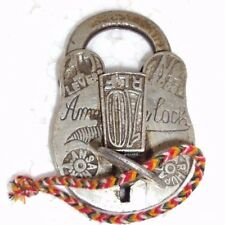 Old Handcrafted Iron Orginal ALIGARH Pad Lock no. 2000/ 10 RLF With Original Key