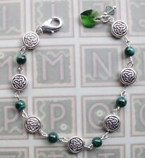 New Irish Celtic Knot Malachite Stone Bead Green Crystal Heart Catholic Bracelet