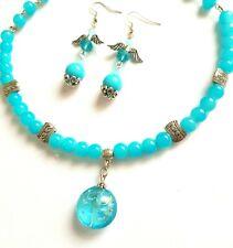 a37b1e86cf008f Collana girocollo donna filo rigido più orecchini blu turchese vetro di  Murano