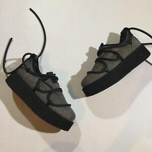 PURO Womens Size 5 Hip Rubber Lace Secret Platform Shoes In Gray Black MSRP $525
