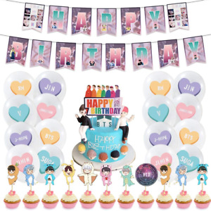 BTS Party Decorations Set ,BTS Birthday Party Supplies - BTS Birthday Cake and
