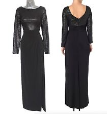 PHASE EIGHT Black Jersey Sissy Sequined Long Sleeves Maxi Dress UK 10  EU 38