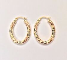 375 9ct Yellow, Rose and White Gold Oval Twisted Hoop Earrings * Tricolour