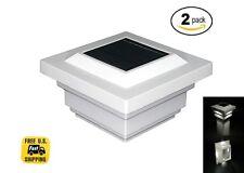 Solar Post Cap Deck Light 4x4 White Low Profile 4 SMD LEDs Sun (2 Pack) PL251