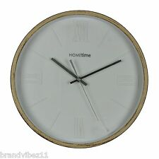 Hometime Neptune White Roman Numeral Dial Light Brown Case Wall Clock W7745