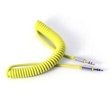 Amarillo 1 M Cable en espiral 3.5 Mm Aux Mini Jack a Jack Macho Audio Auxiliar De Plomo Pc
