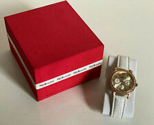 NEW! STYLE & CO ROSE GOLD BAND W/CRYSTALS WHITE CROC STRAP BRACELET WATCH SC1380