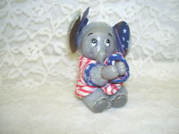 Vintage Red White and Blue Clasping Hands Elephant 1988 Political Figure
