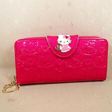 HelloKitty Zipper Crystals Wallet Purse 2016  New Cute Hot Pink  Long Size Pu