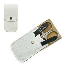 Mont Bleu 3-piece Manicure Set & Crystal Nail File White Eco-Leather Case ROMA