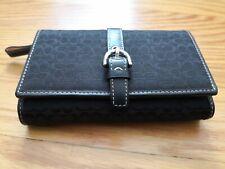 Coach Signature Black Leather Trim  trifold Buckle Wallet