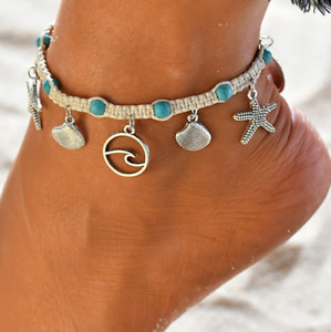 Adjustable Women Girl Sea Star Shell Summer Anklet Beach Sandal Ankle Bracelet