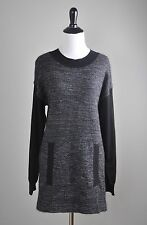 AKRIS PUNTO $595 Mohair & Wool Soft Knit Contrast Front Pullover Top Size 6