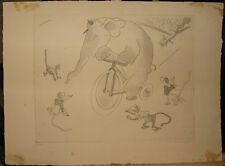 Vera Braun 1930 Circus Etching Hungarian Modernist