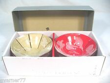 Hoya Crystal 6 piece etched frosted Flower Bowl Set w/ box, pamphlet Great Shape