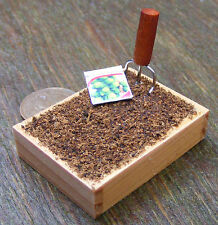 1:12 Scale Wooden Growing Box With A Seed Packet & Tool Dolls House Accessory