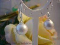 Ohrringe aus 925er Silber mit MuschelkernPerlen 12mm Weiß TOP Geschenk