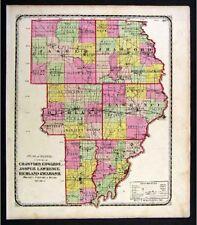 1872 Beers Illinois Map Crawford Wabash Lawrence Jasper